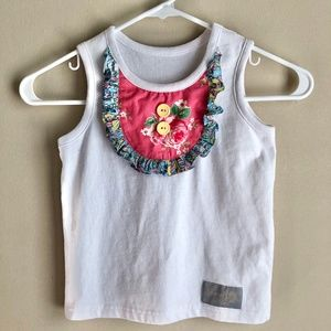 Eleanor Rose Girls White Pink Button Tank Top